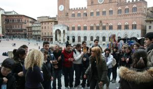 Anna with a school group in Siena